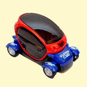 Flick In Bump And Go Super 3D Cartoon Car With Light And Music Toy For Kids, plastic, 16   10.5   11 cm,  red