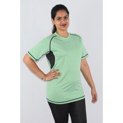 T-Shirts Short Sleeves, l, 90  polyester and 10  spandex,  lawn green