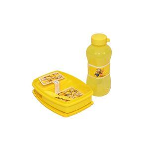 Fab5 School Tiffin Box Set (Yellow, Pack Of 2), yellow