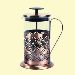Designer Copper Kettle Pot Inside Tin Lining, Serving French Press Coffee, copper  glass, 58   38   46.5 cm,  metal