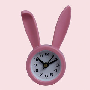 Decorative Rabbit Look Table Clock, plastic, 5.5   2.2   9 cm,  pink