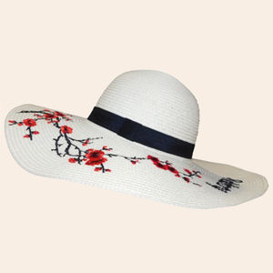 Designer Happy Flower Print Paper Hat for Women, jute paper, 38   38   17 cm,  off white