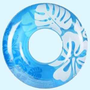 Clear Color Transparent Flower Print Swimming Tube, 91   91 cm,  blue, plastic