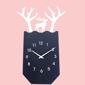 Decorative Deer Shape Wooden Wall Clock, wooden, 32.4   3.2   47.4 cm,  black