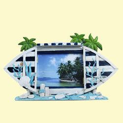 Creative Sea Beach Design With Sand Effect Resin Photo Frame, ceramic, 30   3   18 cm,  white