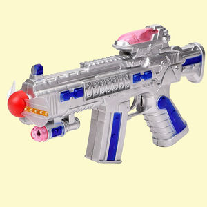 Plastic Space Gun Toy With LED Matrix Flashing Rotating Fan, plastic, 17.5   25.5   3.5 cm,  silver