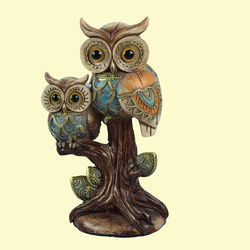 Unique Ceramic Owl With Glitter Effect For Home Decor, polyresign, 12   9   20.2 cm,  brown