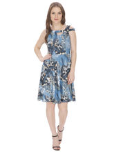 Bella Figura Couture Printed Lycra Dress For Women (BF_ 143B), xs, blue
