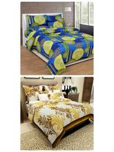 The Divine Heavy Quality Printed 100% Pure Cotton 2 Double Bedsheet With 4 Pillow Covers (CottonBS018060), multicolor