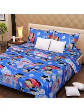 The Divine Floral Poly Cotton Double Bedsheet With 2 Pillow Covers (TDIKIDSPCBS006), multicolor