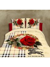 The Divine Floral Glace Cotton Double Bedsheet With 2 Pillow Covers (TDIGC108RMO048), multicolor