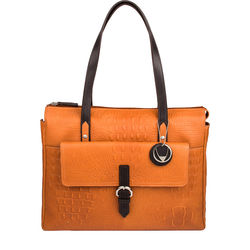 Rizzo 02 Handbag, baby croco,  pumpkin