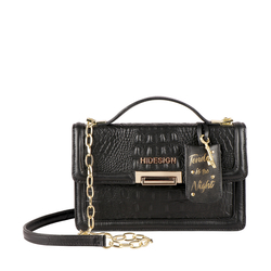 GLAM 01 WOMENS HANDBAG BABY CROCO,  black