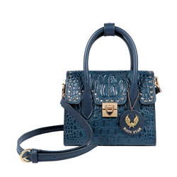 PUNK 01 WOMENS HANDBAG BABY CROCO,  midnight blue