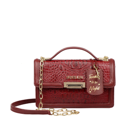 GLAM 01 WOMENS SLING BAG BABY CROCO,  marsala