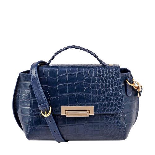 Hidesign X Kalki Alive 01 Women s Handbag Croco,  midnight blue