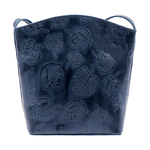 HAMBURG WOMENS HANDBAG, LEAF EMBOSS,  midnight blue