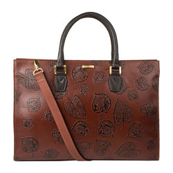 Kester Satchel, leaf emboss,  brown