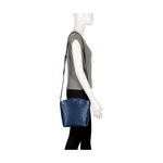 HAMBURG WOMENS HANDBAG, EMBOSS OSTRICH,  midnight blue