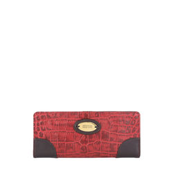Saturn W1 Sb (Rfid) Women's Wallet, Croco Melbourne Ranch,  red