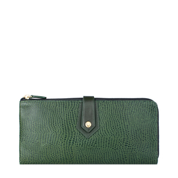 Hong Kong W3 Sb (Rfid) Women's Wallet, Lizard,  emerald green
