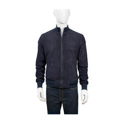 Depp Men's Jacket Goat Suede L,  navy blue, l
