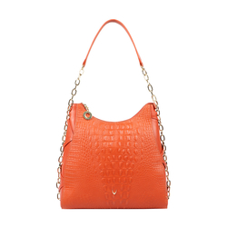 CHARLESTON 02 WOMEN'S HANDBAG BABY CROCO,  lobster