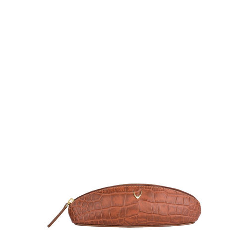 Goldie 03 Pencil Case Croco,  tan