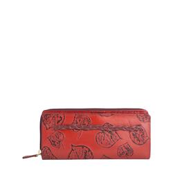 Meryl W1 Women's wallet, E. I. Leaf Emboss Roma Melbourne Ranch,  red