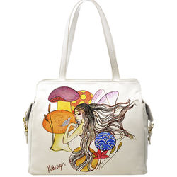 The Queen Of Hearts Handbag, cow deer,  white