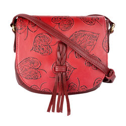 Meryl 03 Women's Handbag, E. I. Leaf Emboss Roma Split,  red
