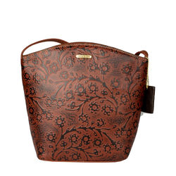 Hamburg Women's Handbag, Flower Embossed,  brown