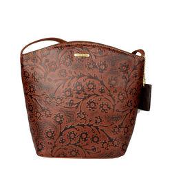 Hamburg Women's Handbag, Flower Embossed,  brown