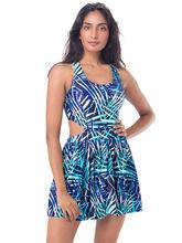 PrettySecrets Coablt Palm Sunkissed Skirted Swimsuit (PSW16SWM20B), multicolor, m
