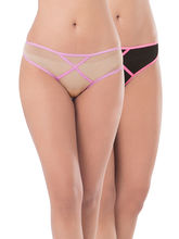 Prettysecrets Mesh Thong - Pack Of 2 (PS0916MSXXTHG2-01), black and nude, m