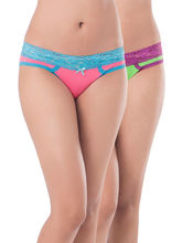Prettysecrets Cotton Lacy Bikini - Pack Of 2 (PS0916LCWBBKN2-01), pink and green, s