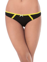 Prettysecrets Cotton Lace Bikini (PS0916BKLCBKN04), black and yellow, m