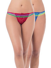 Prettysecrets Lace Strappy Thong - Pack Of 2 (PS0916CNELTHG2-01), blue and red, m