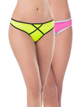 Prettysecrets Mesh Thong - Pack Of 2 (PS0916MSXXTHG2-03), pink and green, m