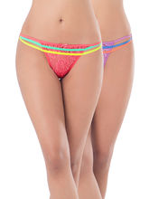 Prettysecrets Lace Strappy Thong - Pack Of 2 (PS0916CNELTHG2-02), pink and purple, s