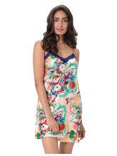 PrettySecrets Satin Lace Trim Nightdress (PS1216SCS01), l, multicolor