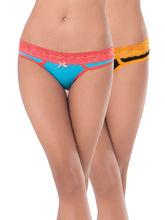 Prettysecrets Cotton Lacy Bikini - Pack Of 2 (PS0916LCWBBKN2-02), black and blue, l