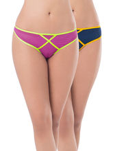 Prettysecrets Mesh Thong - Pack Of 2 (PS0916MSXXTHG2-02), blue and purple, s