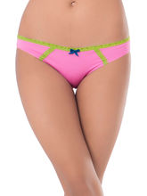 Prettysecrets Cotton Lace Bikini (PS0916BKLCBKN06), pink and green, l