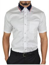 El Figo Men's Satin Cotton Dress Shirt (White_ HS_ Sattan_ Cott), white, xl