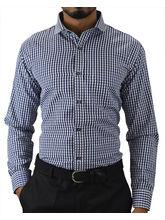 El Figo Men's Gingam Check Slim Fit Dress Shirt (Gingam_ Navy), blue, l