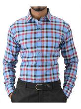 El Figo Men's Checkered Slim Fit Shirt (Red_ SkyBlu_ Navy_ Check), multicolor, l
