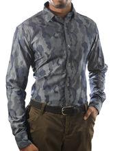 El Figo Men's Slim Fit Camouflage Shirt (Camo_ Men_ Print), grey, s