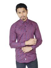 El Figo Men's Cotton Check Patch Shirt (Navy_ Red_ BiasPatch), multicolor, m