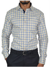El Figo Men's Slim Fit Check Shirt (Khakhi_ Navy_ Check), multicolor, xl